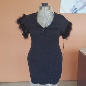 X-Small Dark Grey Sweater Dress w/Fur Collar